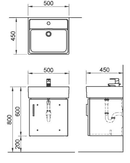 Bộ Tủ Chậu Lavabo INAX CB0504-5QF-B Rubik