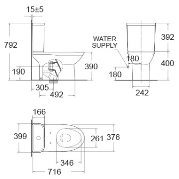 Bồn Cầu American Standard 2630-WT (3630-WT+ 4630-WT) Modern