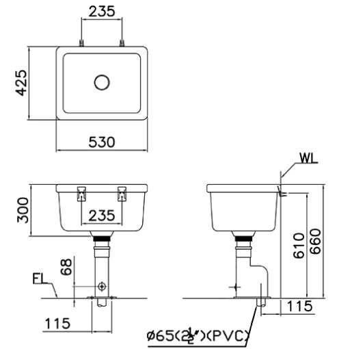 Chậu Giặt CAESAR SS558AS Bộ Xả Thoát Sàn