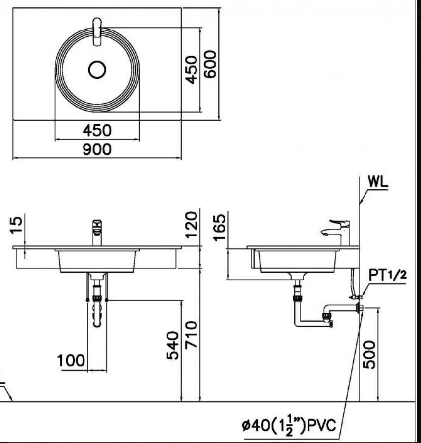 Chậu Rửa Lavabo Âm Bàn CAESAR LF5118 Tròn