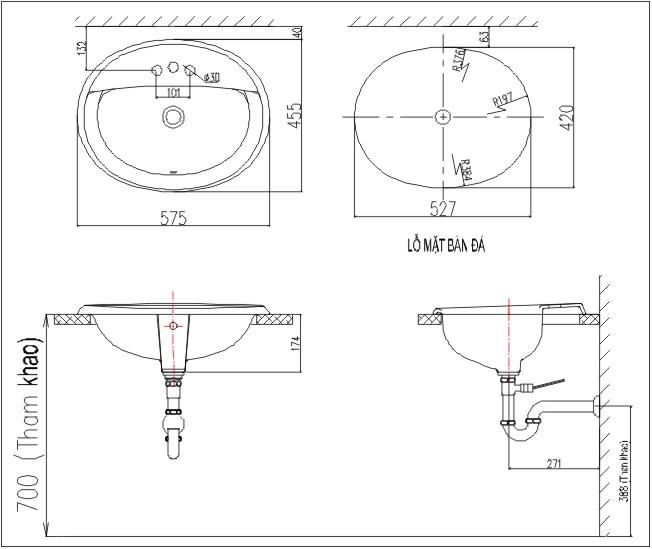 Chậu Rửa Lavabo Âm Bàn Inax L-2395V (AL-2395V) Dương Vành