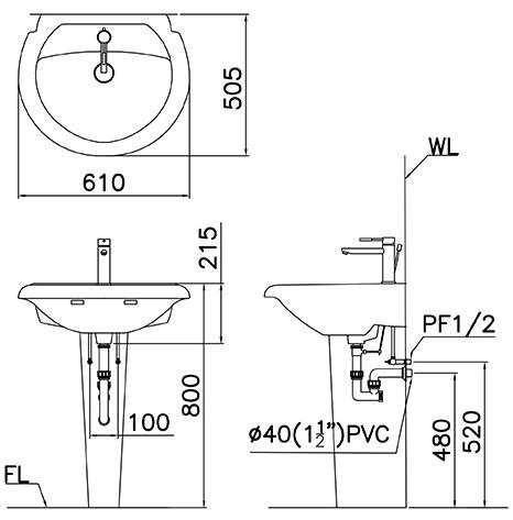 Chậu Rửa Lavabo Caesar Chân Đứng L2360/P2437