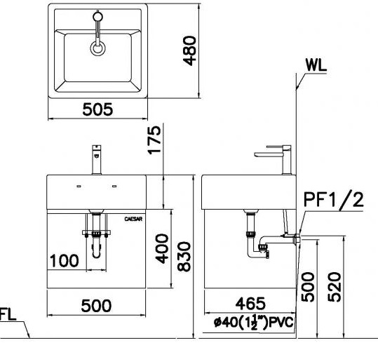 Chậu Rửa Lavabo CAESAR LF5236 Đặt Bàn Chữ Nhật