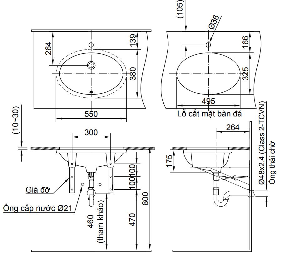 Chậu Rửa Lavabo Inax L-2216V (AL-2216V) Âm Bàn Oval