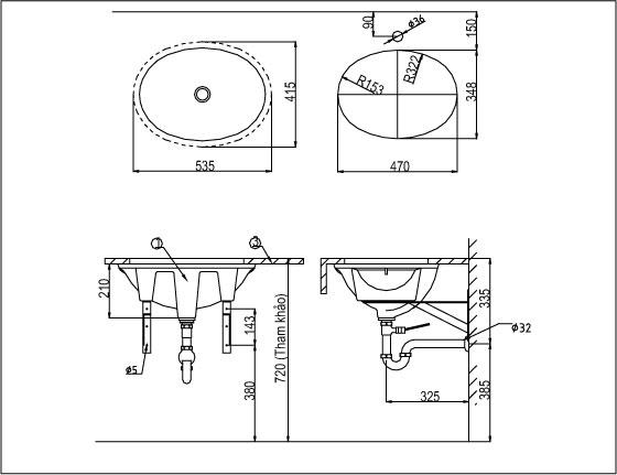 Chậu Rửa Lavabo Inax L-2293V (AL-2293) Âm Bàn Oval