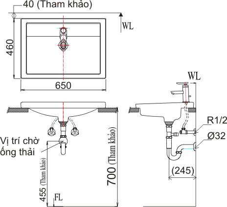Chậu Rửa Lavabo Inax L-2397V (AL-2397V) Âm Bàn Dương Vành