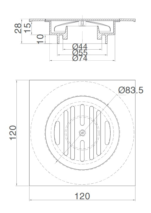 Phễu Thoát Sàn Inax PBFV-120 Vuông 120x120
