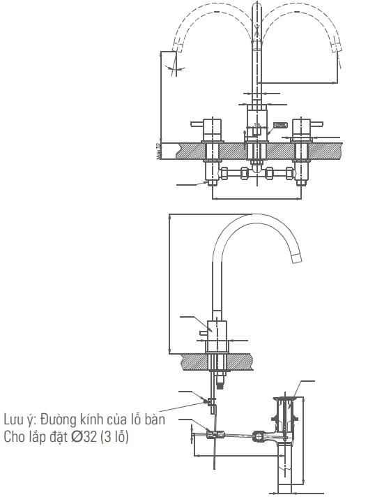 Vòi Chậu Lavabo Inax LFV-7000B Van Nóng Lạnh Riêng 3 Lỗ