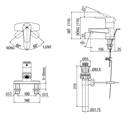 Vòi Chậu Rửa Inax LFV-1201S-1 Nóng Lạnh Lavabo 3 Lỗ