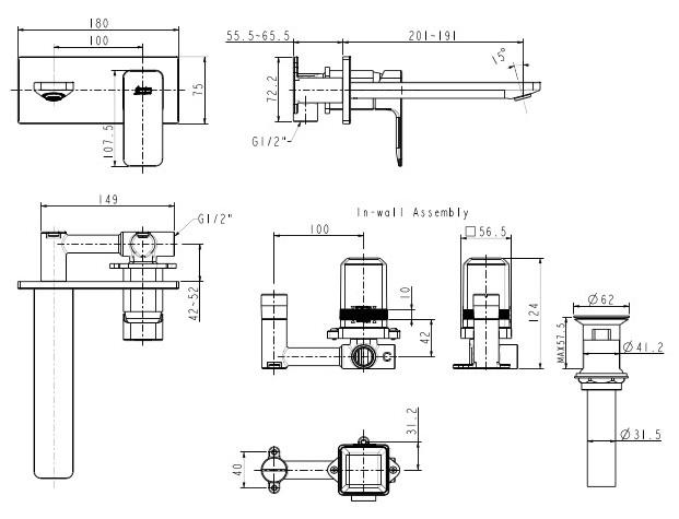Vòi Lavabo Gắn Tường American Standard WF-1304 Acacia E