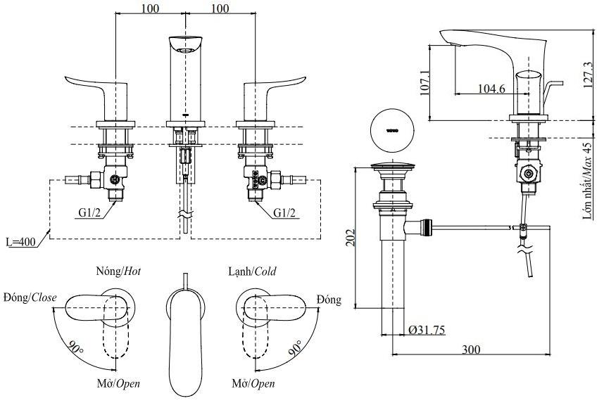 Vòi Lavabo TOTO TLG01201B 3 Lỗ