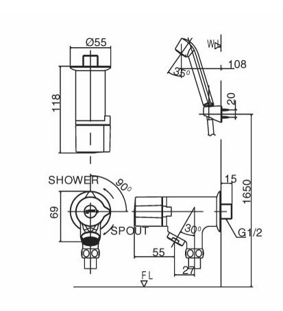 Vòi Sen Tắm Lạnh INAX BFV-10-1C Tay Sen Massage
