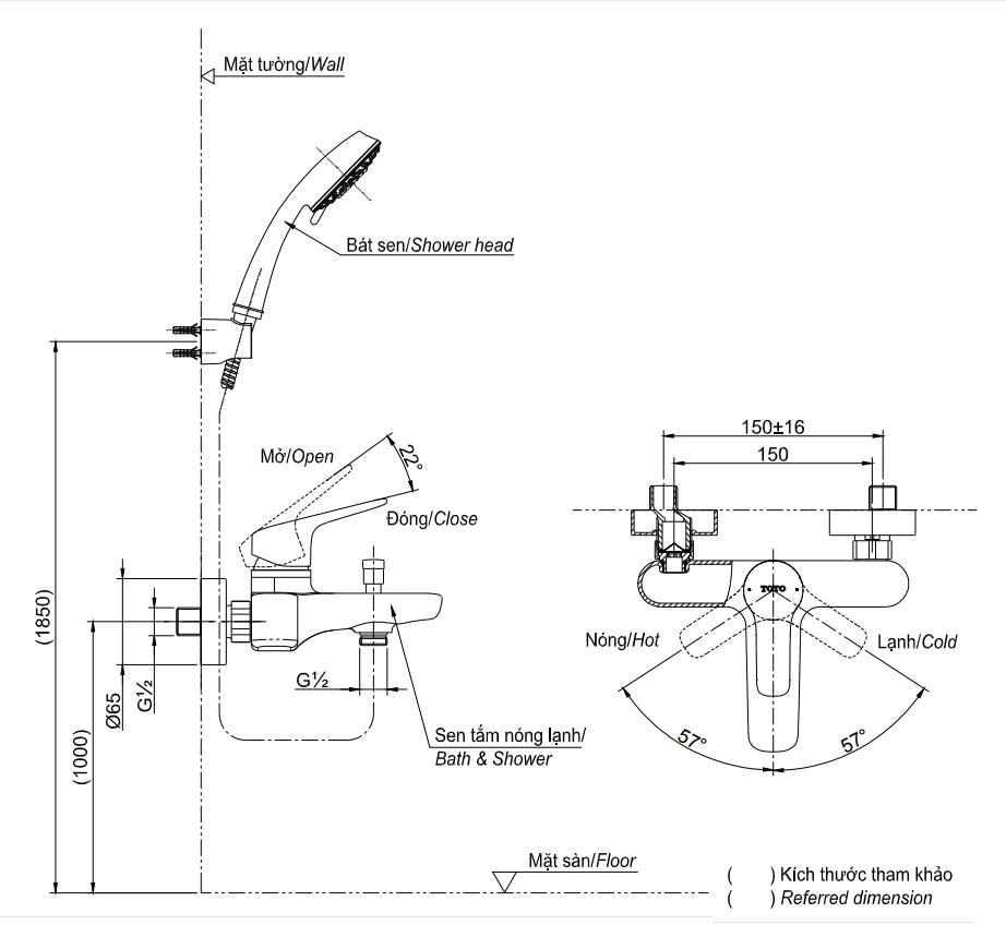Vòi Sen Tắm TOTO TBG03302V/TBW01010A Nóng Lạnh